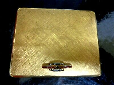 """Art Deco 1930s Powder & Rouge Compact Gold Shaded Jewelled Metal Mirror 3"""" x 2.6"""