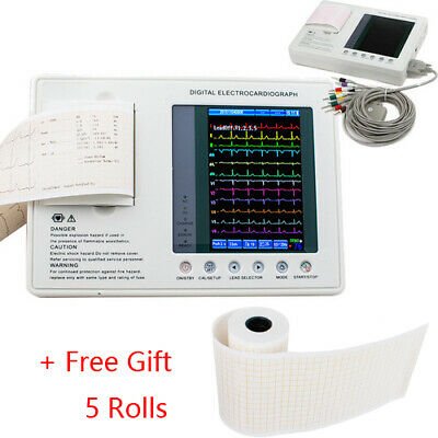 12Lead Digital Electrocardiograph 3Channel ECG EKG Machine +5Thermal Print Paper