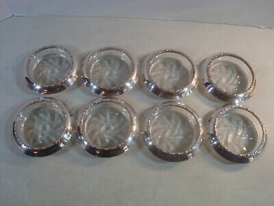 Vtg Antique 8PC Lot Sterling Silver Bead & Etched Glass COASTERS NICE*