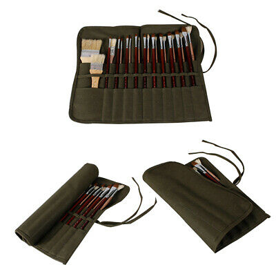 Art Supplies Storage for oil Watercolor Pen Artists Army Green Paint Brush Bag