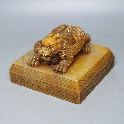Chinese Exquisite Hand carved Shoushan Stone Mythical beast Seal