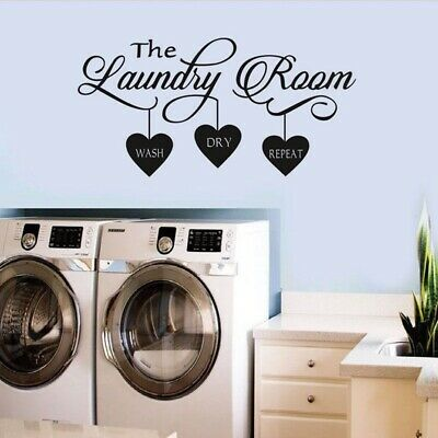 Laundry Room Hanging Clothes Wall Sticker Home Quotes Inspirational Love MS357VC