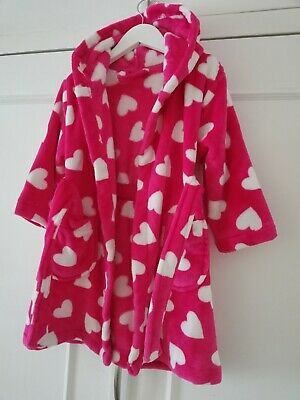 Girls Cerise Pink Heart Dressing Gown 2-3 Years