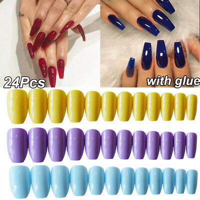 Full Cover Fake Nails False Nails With Glue Ballerina Coffin
