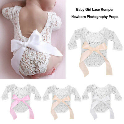 Accessories Baby Girl Newborn Photography Props Lace Romper Big Bow Bodysuit