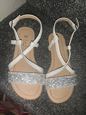 Worn Once Girls Next Size 10 Sandal Shoes White And Glitter Strappy Sandals