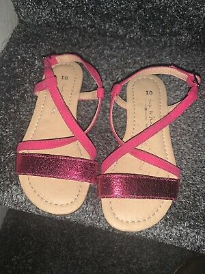 Worn Once Girls Next Size 10 Sandal Shoes Pink  And Glitter Strappy Sandals