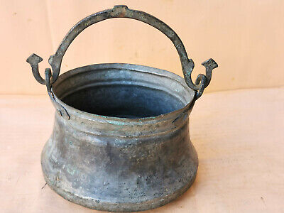 Old Antique Primitive Copper Vessel Bowl Bucket Pail Handle Signed 1893