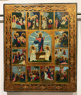 "ANTIQUE RUSSIAN HAND PAINTED ICON ""RESURRECTION of CHRIST"""