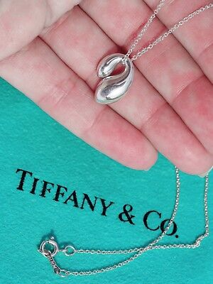 Tiffany & Co Elsa Peretti Double TearDrop Sterling Silver Pendant Necklace 16""