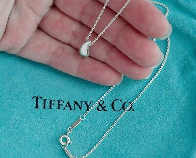 Tiffany & Co Elsa Peretti Sterling Silver Small 12mm Teardrop Pendant Necklace