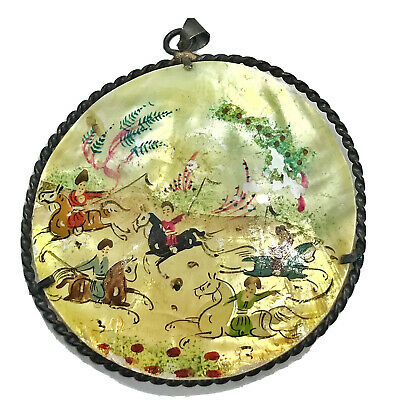 Antique Middle Eastern Hand Painted Mother Of Pearl Artwork Pendant Silver Art