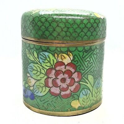 Antique Chinese Late/Post Qing Dynasty Cloisonné Container Pot - Brass & Enamel