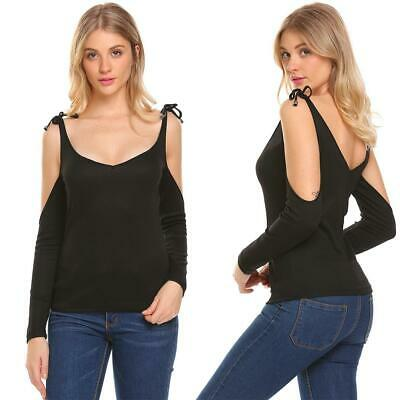 Women V-Neck Cold Shoulder Long Sleeve Bow Casual T-Shirt Blouse Tops EHE8