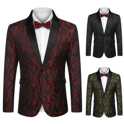 Men Fashion Turn Down Collar Long Sleeve Floral Pocket Blazer EHE8 01