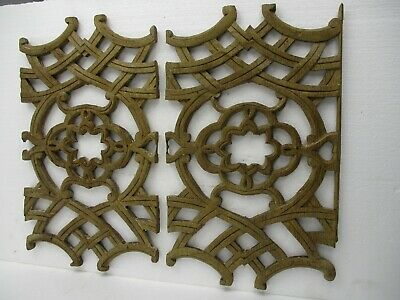 2 Small Antique Neo Gothic Hand Carved Wood Corbel Pediment Trim Architectural