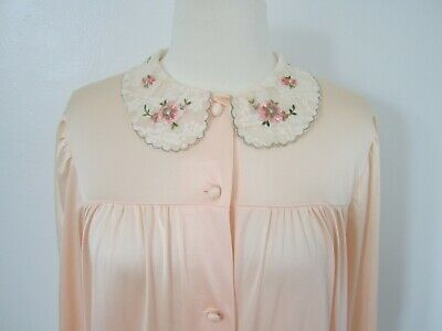 Vtg Lorraine Robe Womens Small Peach Silky Satin Lace Peter Pan Collar Button Up