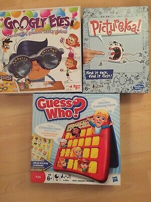 Childrens Family Board Game Bundle - Guess Who, Pictureka & Googly Eyes