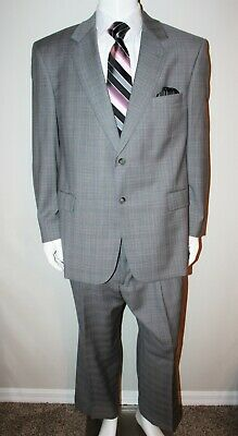 Stafford Executive Mens 46 R Gray Plaid 2 Button 2 Piece Suit Pleated Pants Wool