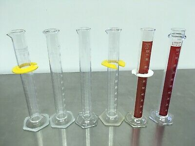 Lot of 6 Graduated Cylinders 100 mL Pyrex VWR Kimax Pre-owned Excellent