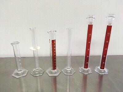 Lot of 6 Glass Graduated Cylinders 25mL, 50mL Pyrex Kimax etc. Pre-owned
