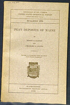 USGS MAINE PEAT DEPOSITS with Classic VINTAGE MAP OF THE STATE 1909 Rare