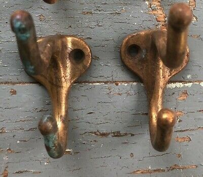 "Antique Vintage Coat Hooks  Copper Plated Cast Iron, Lot of 2 ( 3 x 2"")"