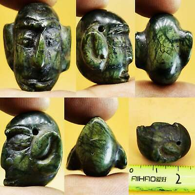 Near Eastern Old Unique Face Head Stone Luck Amulet   # 103