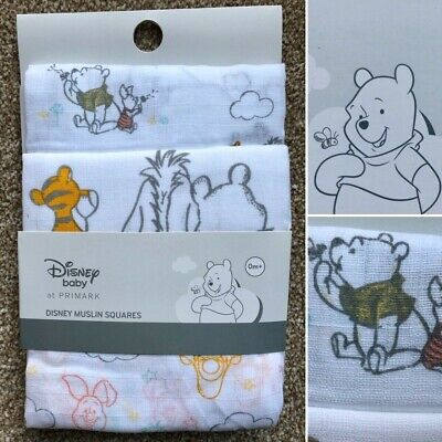 3 x DISNEY WINNIE THE POOH BABY MUSLIN SQUARES BURP CLOTH BIB NEW PRIMARK