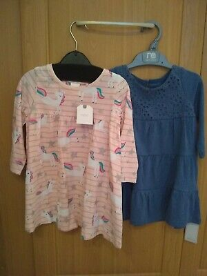 BNWT 2x Baby Toddler Girls dresses Next pink unicorn & Mothercare 12-18 months
