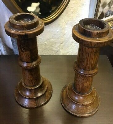 Gorgeous Pair Of Antique Solid Twisted Oak Candle Sticks Stunning Chunky Oak.
