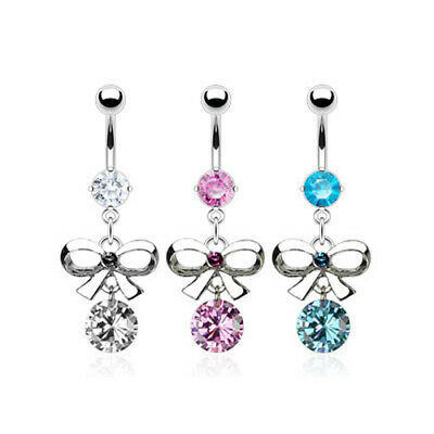 Bow Tie Belly Bar Navel Piercing Ring with CZ Gems Surgical Steel