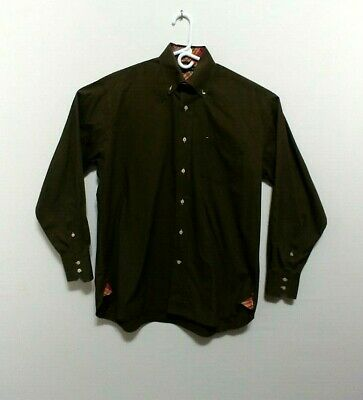Tommy Hilfiger Mens Button Down Medium Olive ODG Green Shirt GC