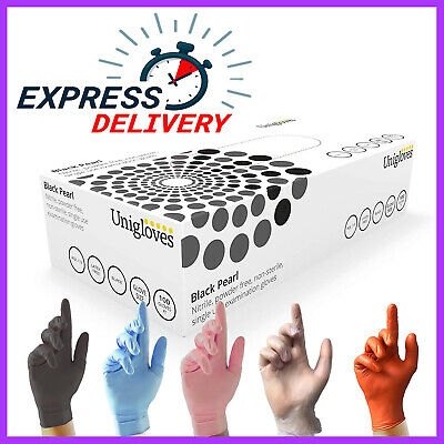 100 Disposable Powder Latex Free Clear Vinyl Gloves Nitrile Pink Blue Valeting