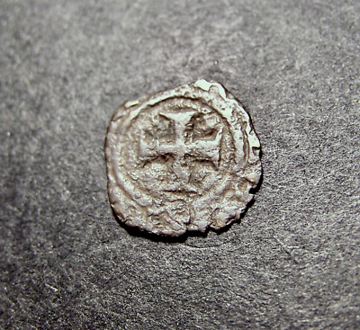 Medieval Coin, Christian Cross, Fleur de Lis, Templar, Crusades, c 13th AD,