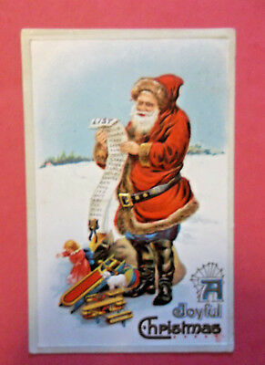 Antique 1911 Santa Checking the List Gold Trim Embossed Christmas Postcard Card