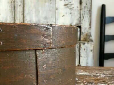 Early Aafa Antique Folk Art Pantry Box Wood Original Brown Paint Grain Measure