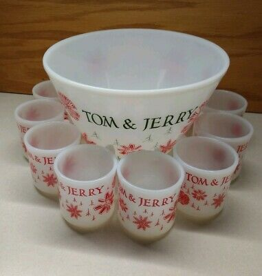 Christmas Punch Bowl/Eggnog Set Tom And Jerry Vintage Fire king 8 cups/1 bowl