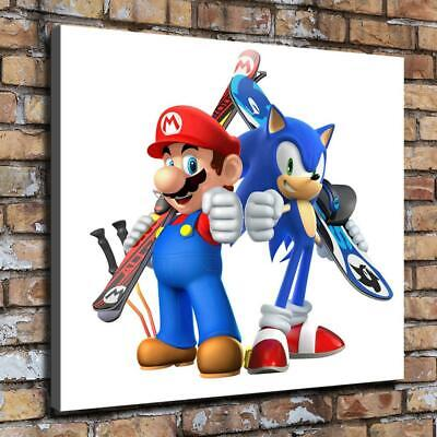 Mario and Sonic HD Canvas prints Painting Home decor Picture Wall art Poster
