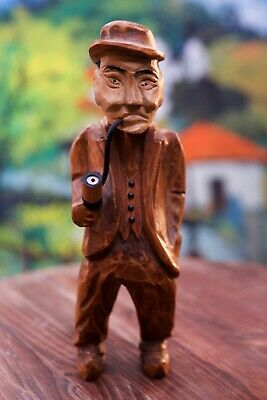 Antique Hand Carved Wood Henning Gunnarsson Style Man w/Pipe Norway Swede 11.25""