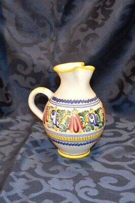 "7"" Modra Ludova Majolica Pitcher Hand Painted White w/ Blue & Red Flowers USED"