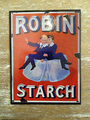 Dollhouse accessory advertisement ROBIN STARCH metal plate