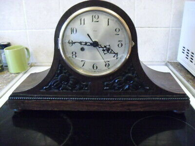 vintage  wooden napoleon hat mantle clock converted to quartz battery movement,