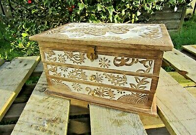 Hand Carved Made Mango Wood Wooden Butterfly Jewellery Box Case Holder Large