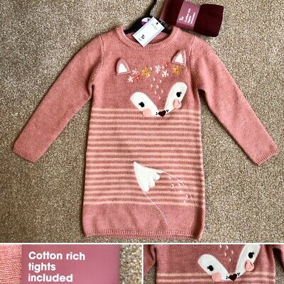Tu 2 PIECE GIRLS PINK FOX KNITTED DRESS & TIGHTS - 4-5 Years -BRAND  NEW