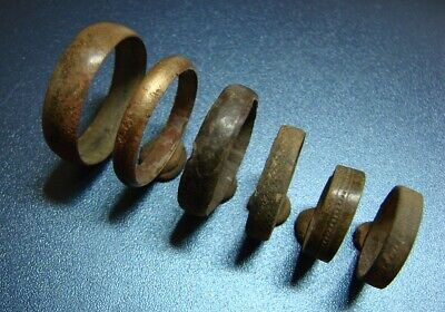 Ancient bronze wedding rings. Middle Ages. Оriginal.