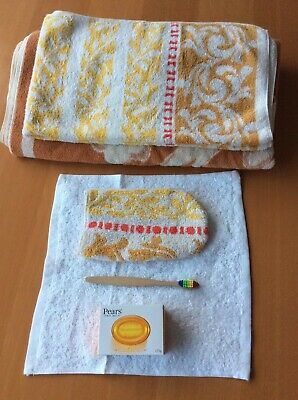 Vintage Towels With New Eco Friendly Plastic Free Bamboo Toothbrush Soap Flannel