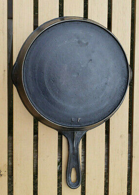 Vtg Cast Iron Skillet # No 7 K F Heat Ring Antique Pan Erie Handle USA Maker Mrk