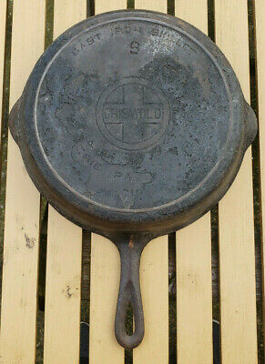 Vtg Griswold 9 Cast Iron Skillet 710A Large Block Logo Heat Ring Erie Antique Pa
