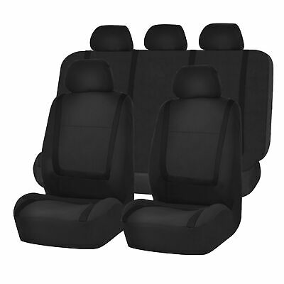 Full Car Seat Covers Set Solid Black For Auto Truck SUV